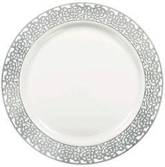 """White w/Silver Lace Border, Premium Plastic Lunch Plates, 7 1/2"""" - 20ct"""