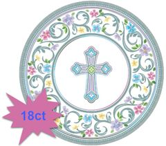 "Blessed Day Religious Dessert Plates, 7"" - 18ct"