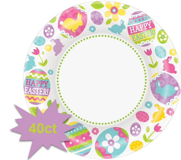 "Egg Hunt Round Plates, 7"" 40ct"