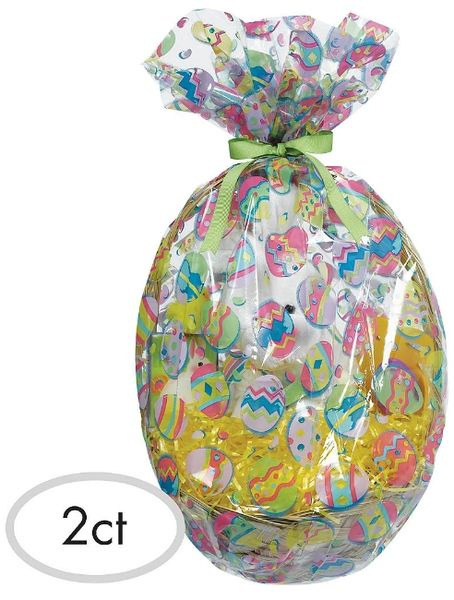 Painted Eggs Plastic Gift Basket Bags, 2ct