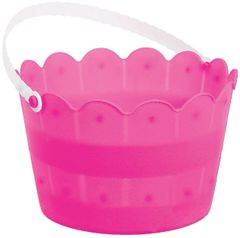 Bright Pink Plastic Scalloped Easter Bucket