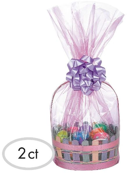 Pink Plastic Gift Basket Bags, 2ct