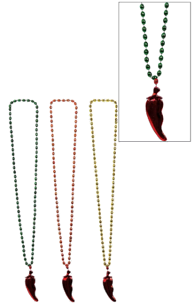 Chili Pepper Pendant Bead Necklaces, 3ct