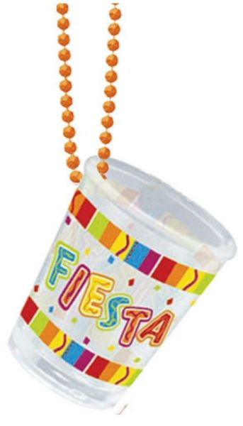 Fiesta Bead Chain Necklace w/Plastic Shot Glass, 20""