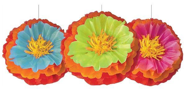 Fiesta Fluffy Flower Decoration, 3ct