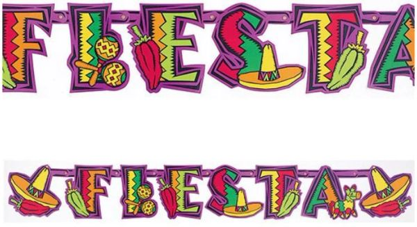 Fiesta Party Illustrated Letter Banner, 12ft