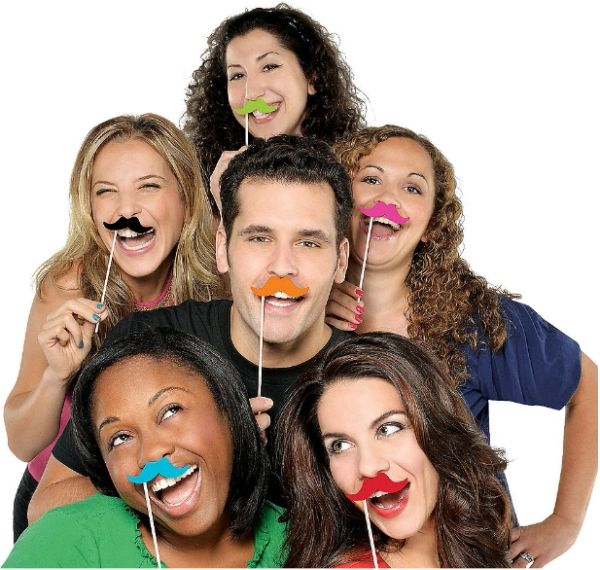 Moustache on a Stick Multi Pack, 6ct
