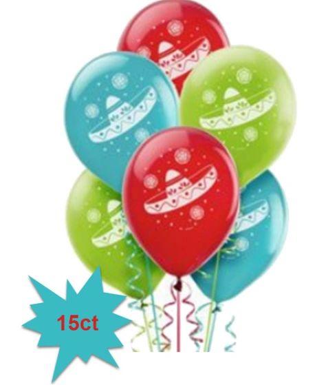 Sombrero Fiesta Balloons, 15ct