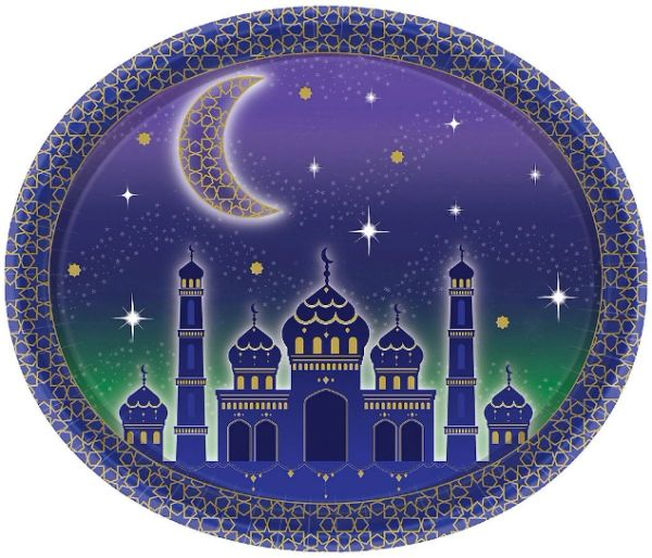 "EID Celebration Oval Paper Plates, 12"" - 8ct"