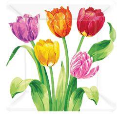 "Spring Tulips Square Plates, 10"" 8ct"