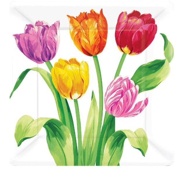 "Spring Tulips Square Plates, 10"" - 8ct"