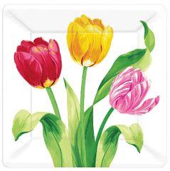 "Spring Tulips Square Plates, 7"" 8ct"