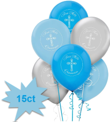 Blue First Communion Printed Latex Balloons, 15ct