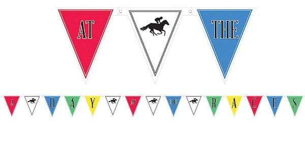 Horse Racing Derby Day Pennant Banner, 11 1/2ft
