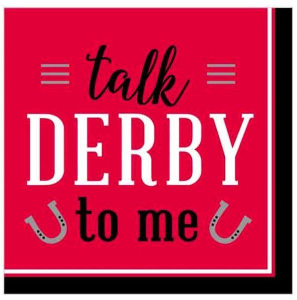 Red Derby Day Beverage Napkins, 16ct