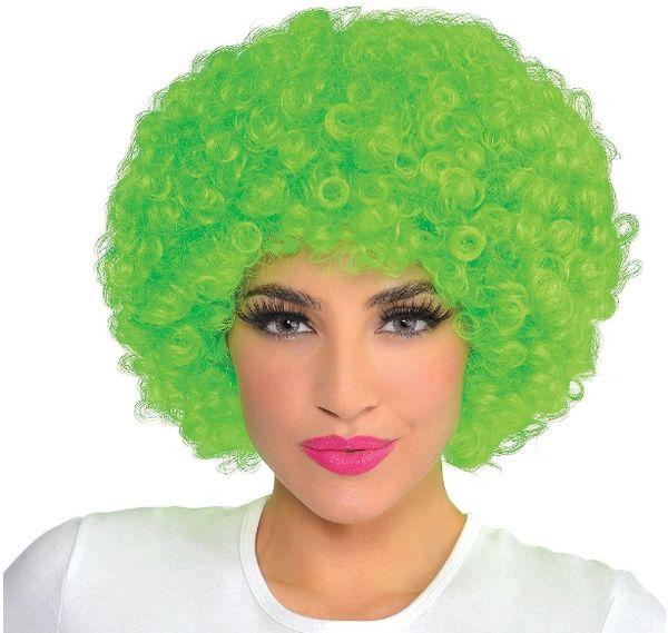 Black Light Neon Green Afro Wig