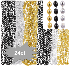 Black, Silver, Gold Bead Necklace, 24ct