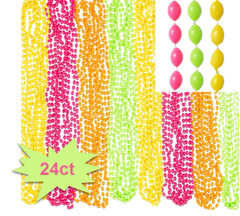 Black Light Neon Bead Necklaces, 24ct