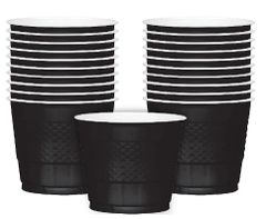 Jet Black Plastic Cups, 9 oz - 20ct