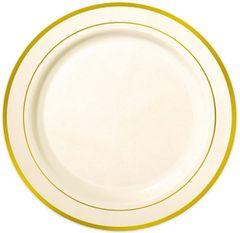 """Cream Gold Trimmed Premium Plastic Buffet Plates, 12"""" - 10ct"""