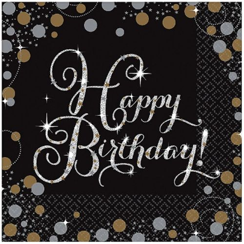 Sparkling Celebration Beverage Napkins, Happy Birthday, 16ct