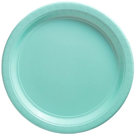 """Big Party Pack Robin's Egg Blue Lunch Paper Plates, 9"""" - 50ct"""