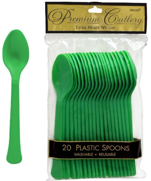 Festive Green Premium Heavy Weight Plastic Spoons 20ct
