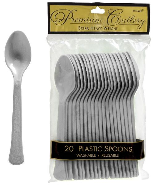 Silver Premium Heavy Weight Plastic Spoons, 20ct