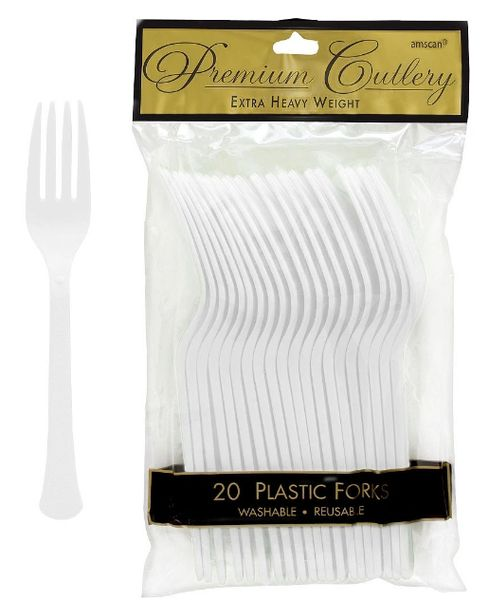 Frosty White Premium Heavy Weight Plastic Forks, 20ct