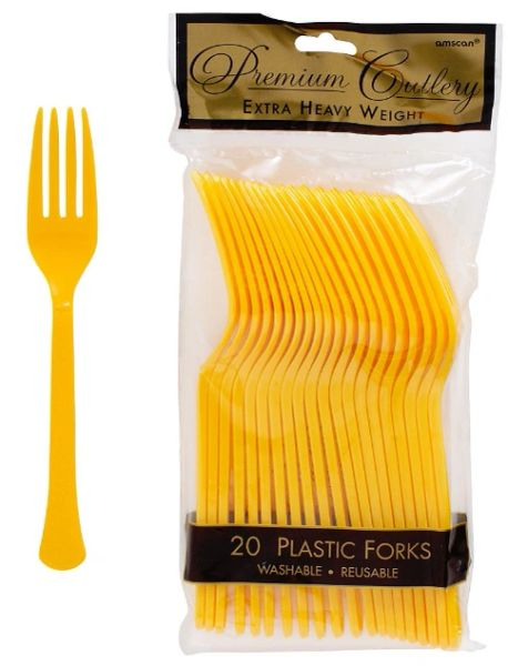 Sunshine Yellow Premium Heavy Weight Plastic Forks, 20ct