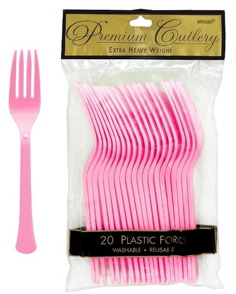 New Pink Premium Heavy Weight Plastic Forks, 20ct