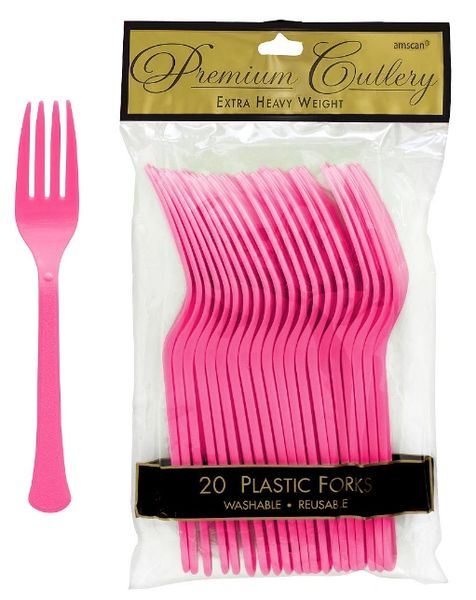 Bright Pink Premium Heavy Weight Plastic Forks, 20ct