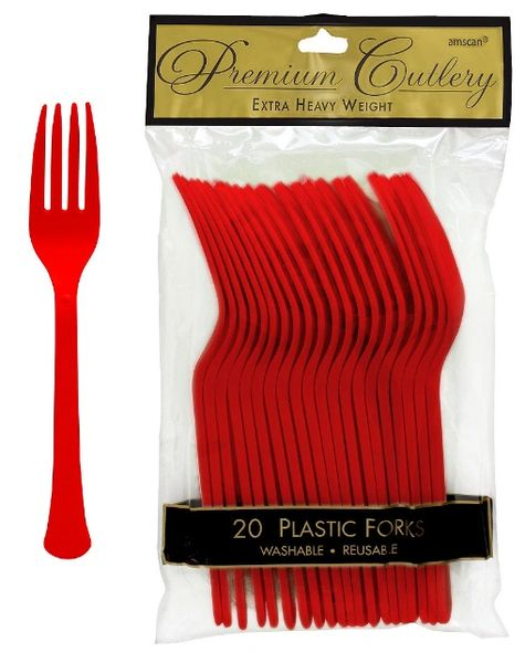 Apple Red Premium Heavy Weight Plastic Forks 20ct