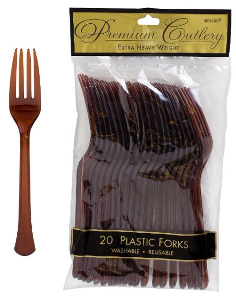 Chocolate Brown Premium Heavy Weight Plastic Forks 20ct