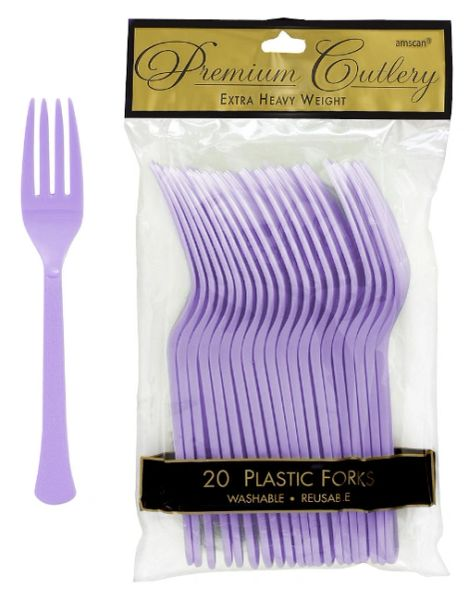 Lavender Premium Heavy Weight Plastic Forks, 20ct