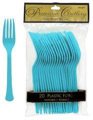 Caribbean Blue Premium Heavy Weight Plastic Forks 20ct