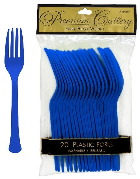 Bright Royal Blue Premium Heavy Weight Plastic Forks, 20ct