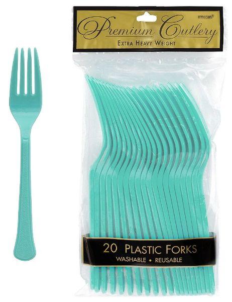 Robin's Egg Blue Premium Heavy Weight Plastic Forks 20ct