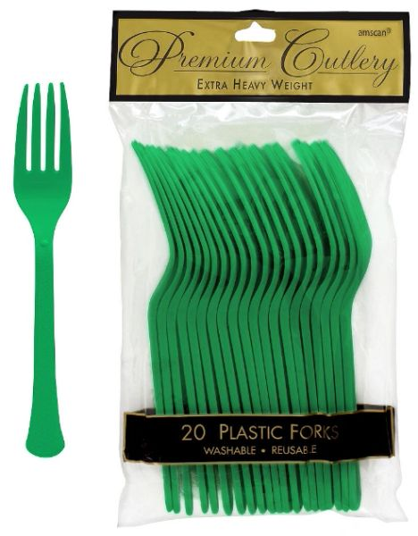 Festive Green Premium Heavy Weight Plastic Forks, 20ct