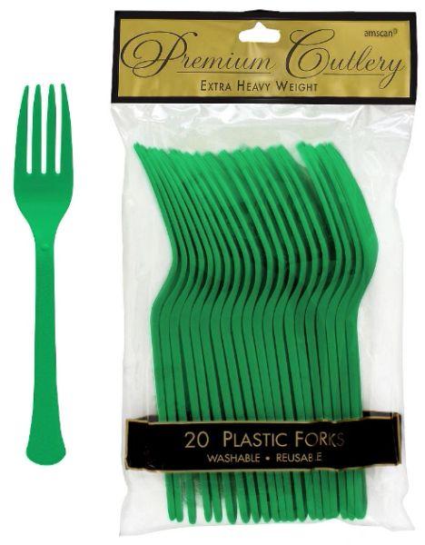 Festive Green Premium Heavy Weight Plastic Forks, 20ct