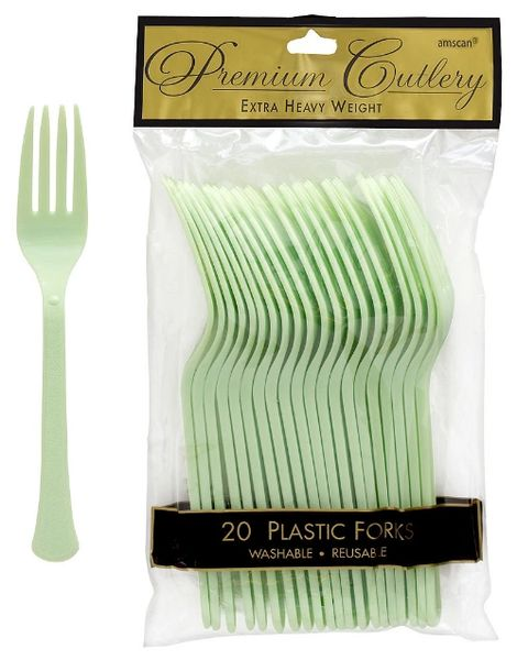 Leaf Green Premium Heavy Weight Plastic Forks 20ct