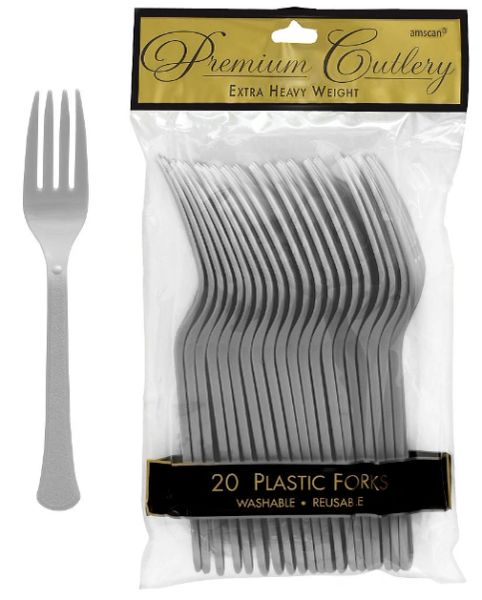 Silver Premium Heavy Weight Plastic Forks 20ct