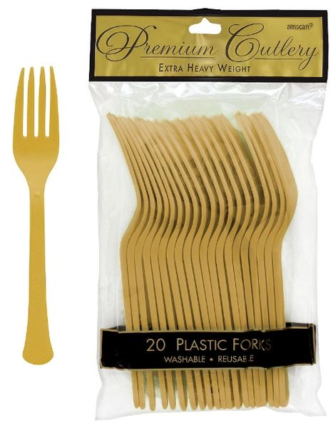 Gold Premium Heavy Weight Plastic Forks, 20ct