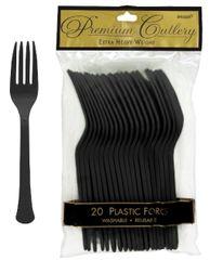Jet Black Premium Heavy Weight Plastic Forks, 20ct