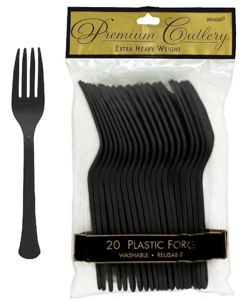 Jet Black Premium Heavy Weight Plastic Forks, 20ct