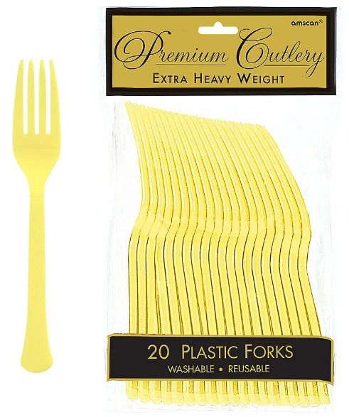 Light Yellow Premium Heavy Weight Plastic Forks 20ct