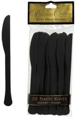 Jet Black Premium Heavy Weight Plastic Knives, 20ct