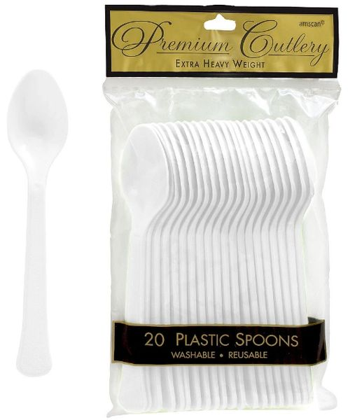 Frosty White Premium Heavy Weight Plastic Spoons, 20ct