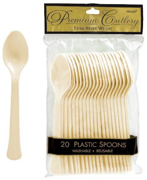 Vanilla Creme Premium Heavy Weight Plastic Spoons 20ct