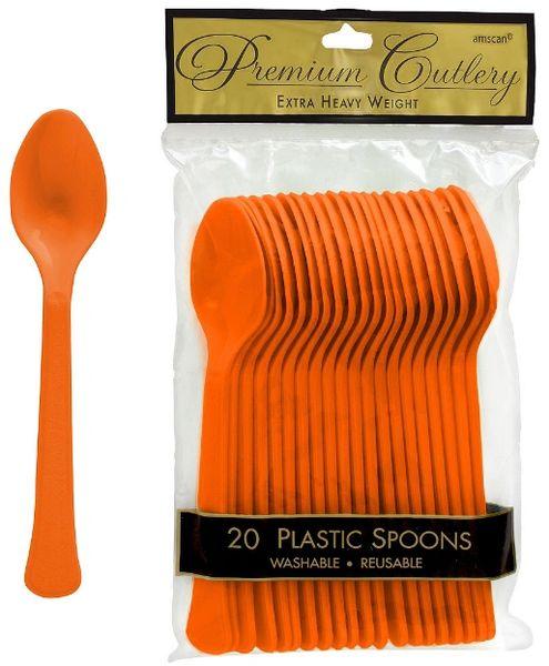 Orange Peel Premium Heavy Weight Plastic Spoons 20ct